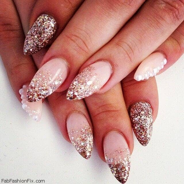 Neutral Ombre Glitter Nails and Pearl Accents