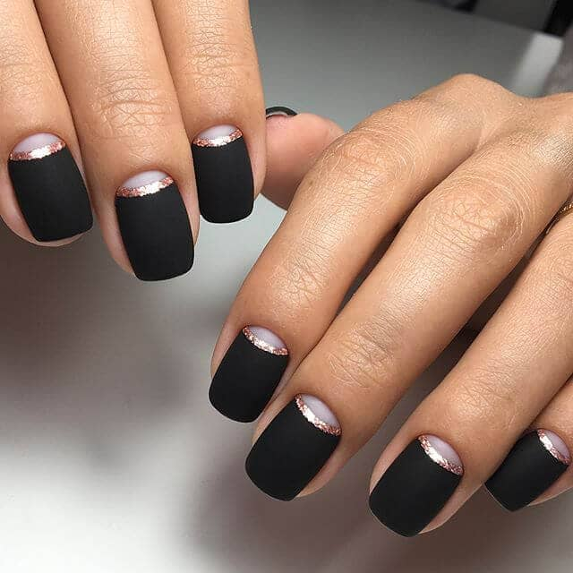 Matte Black and Glitter French Nails