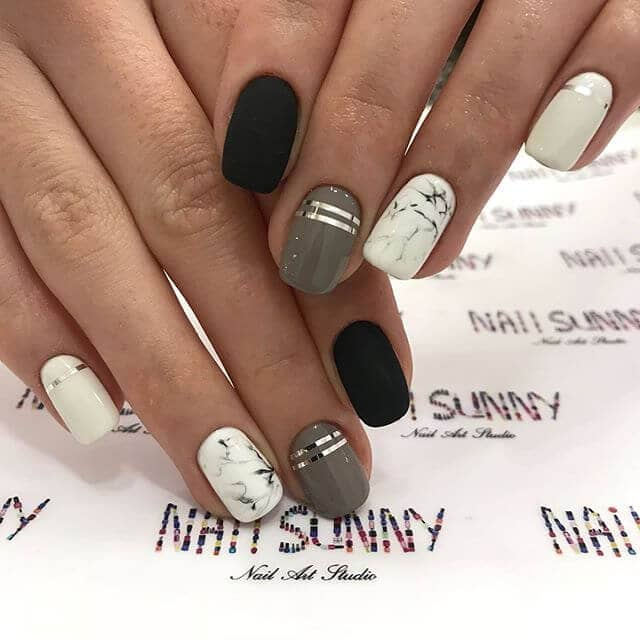 Marble, silver, and black high fashion nails - 50 Dramatic Black Acrylic Nail Designs To Keep Your Style On Point