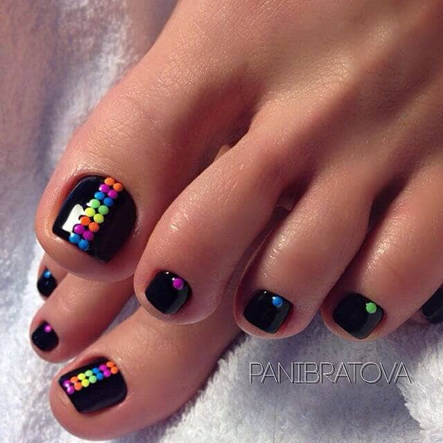 Black and Rainbow Polka Dot Nails for You