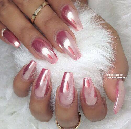 Long And Sharp Baby Pink Chrome Nails