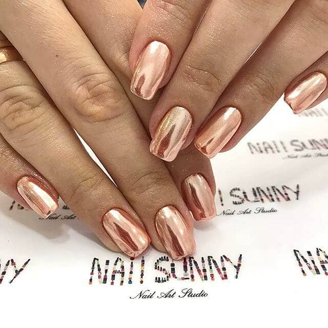 Short Square Copper Metallic Nails