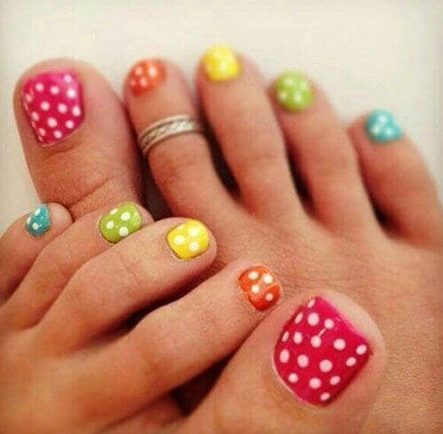 Rainbow Colors and White Polka Dots