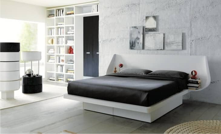 Simple Modern Platform Bed With Inbuilt Side Tables
