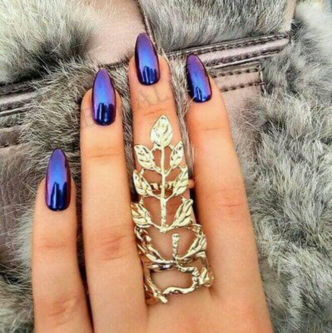 Gothic Holographic Dark Purple Nails