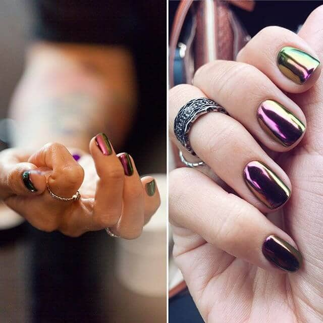 Holographic Oil Slick Nail Ideas