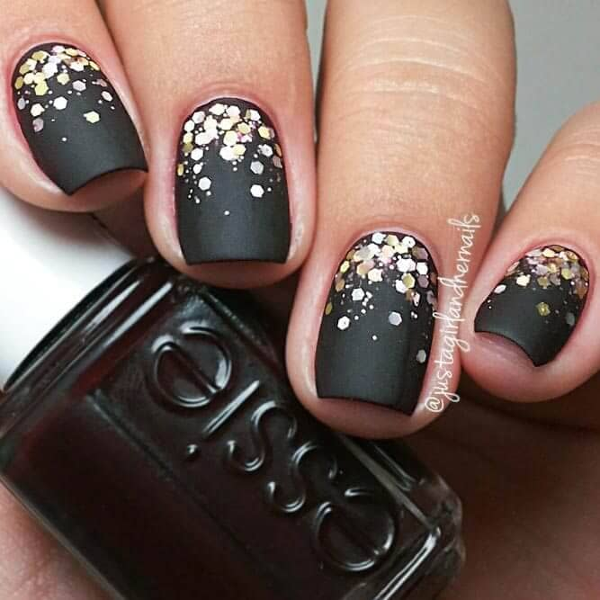 22 All The World Is A Stage Black And Gold Confetti Short Acrylic Nails