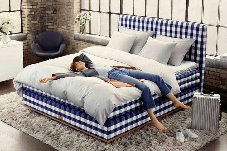 Gorgeous Gingham Fabric Platform Bed