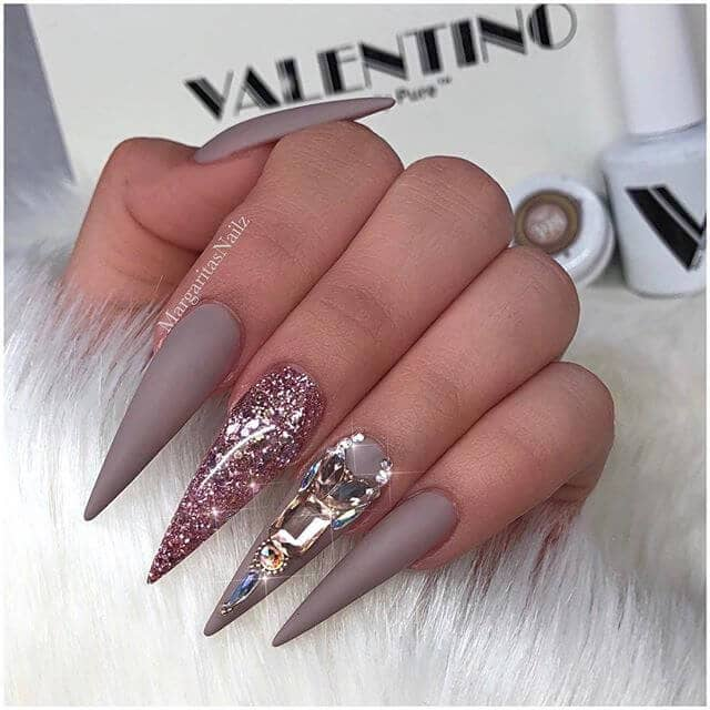 Mink Gray, Glitter and Gemstone Accent Nails