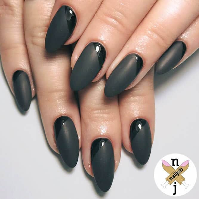 24) Matte acrylic nails with just a hint of gloss – all black design - 50 Dramatic Black Acrylic Nail Designs To Keep Your Style On Point