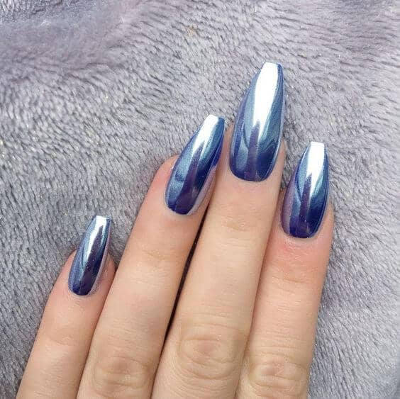 Long Silvery Purple Chrome Manicure