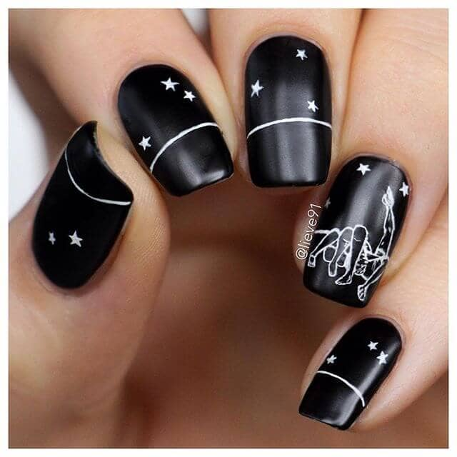 Simple Constellation Nail Art: 50 Dramatic Black Acrylic Nail Designs To Keep Your Style