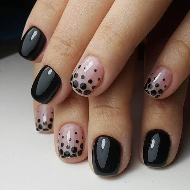 27) Polka dots with a twist- pink and black short nail design - 50 Dramatic Black Acrylic Nail Designs To Keep Your Style On Point