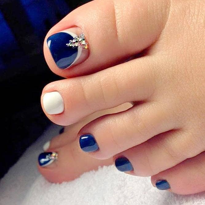 Royal Blue Pedicure Design with Crystals