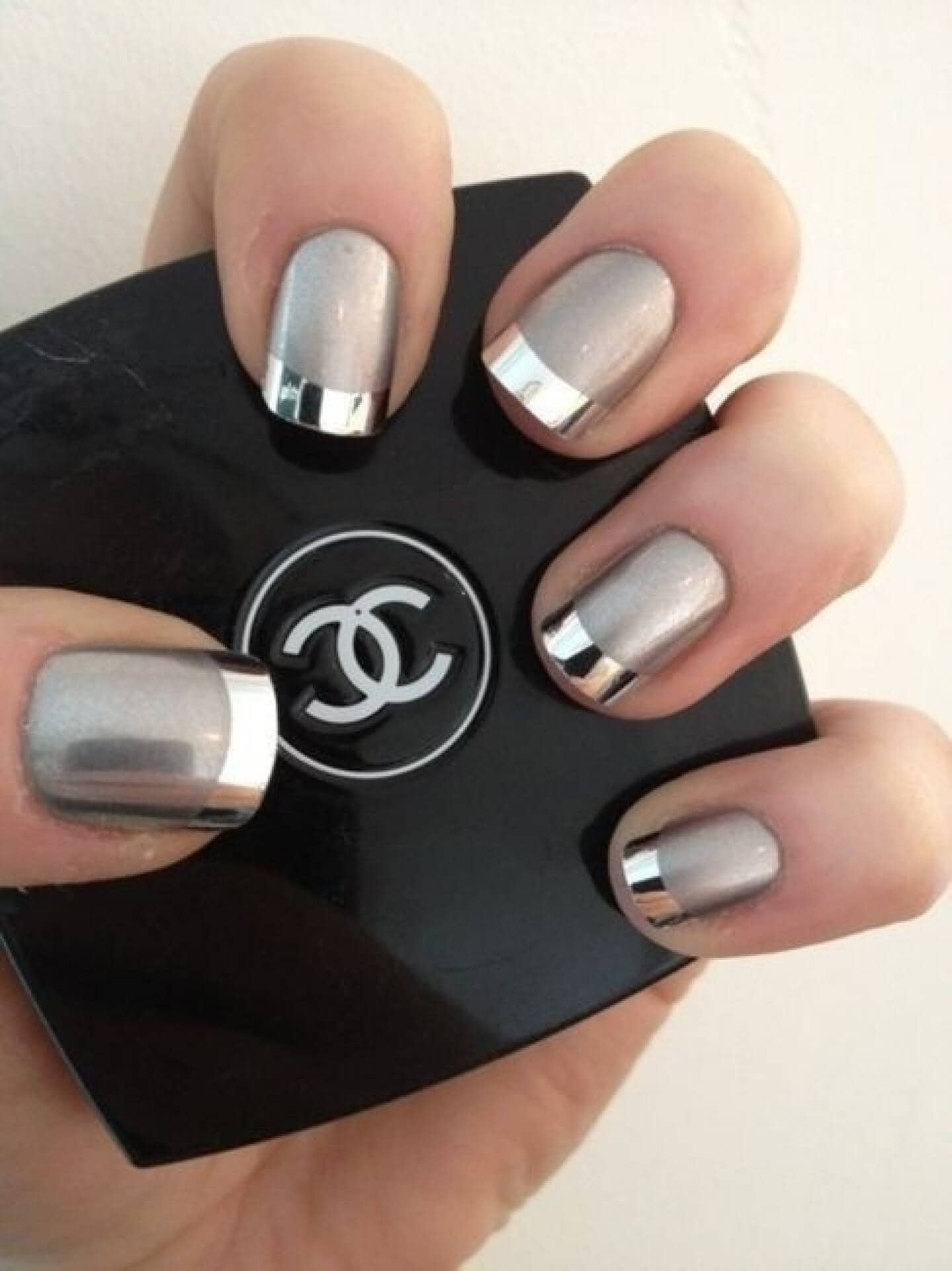 Bright Silver Chrome French Tip