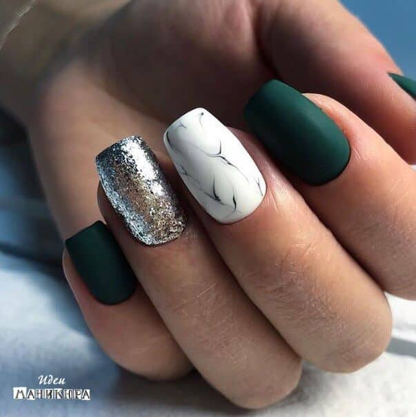 Matte Green, Marble, and Glitter Nails