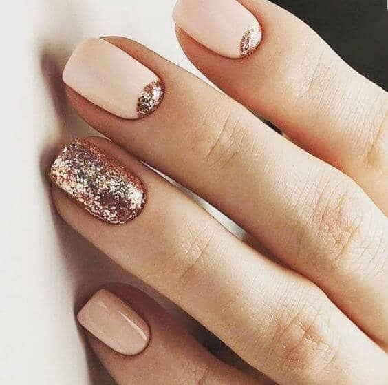 Reverse French With Powdery Pink and Rose Gold Accent