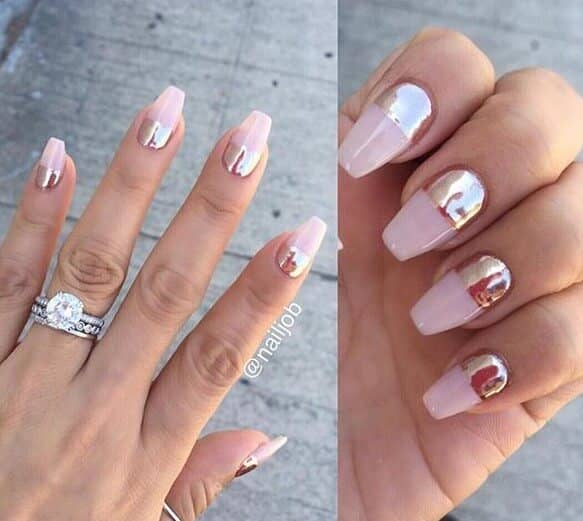 32 Pink Chrome French Tip Nails