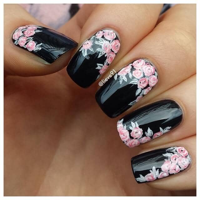 Rose Garden with soft pink roses and a black base