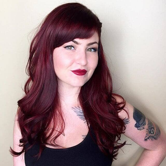Awesome Burgundy Hair Framing the Face