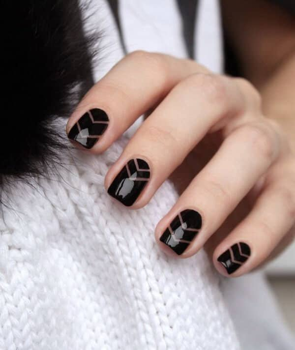 34) Negative space chevron – cute easy nail design - 50 Dramatic Black Acrylic Nail Designs To Keep Your Style On Point