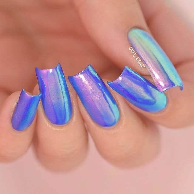 Holographic Blue and Purple Unicorn Nails