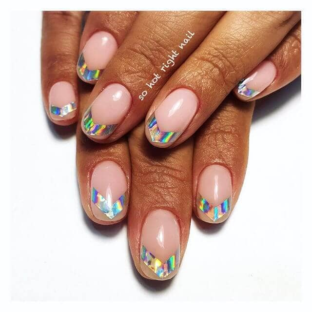 Candy Pink Nail Art with Iridescent Chevrons