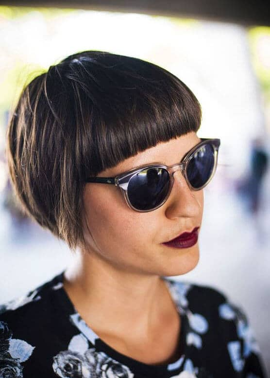 Short Haircut for Women with Straight Bangs