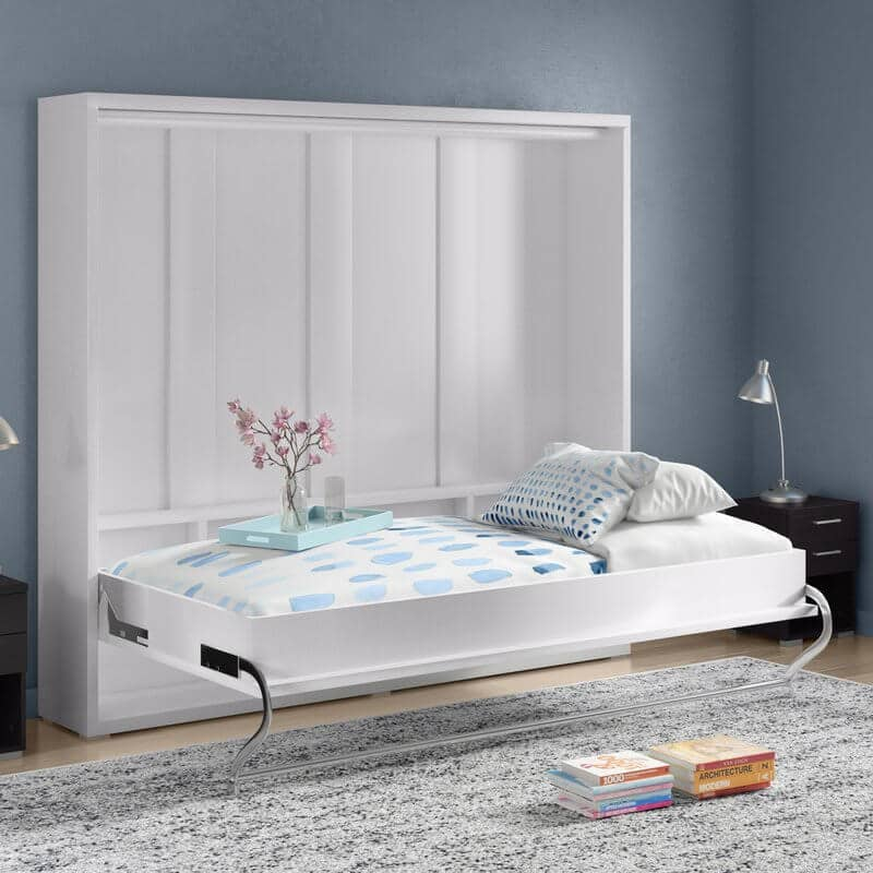 White Bookshelf Murphy Bed for Guests