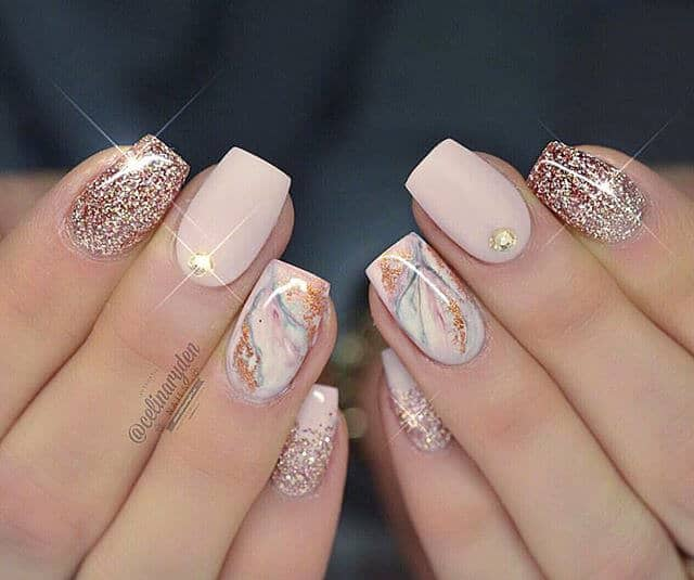 Blush and Gold With Marbled Nail Designs