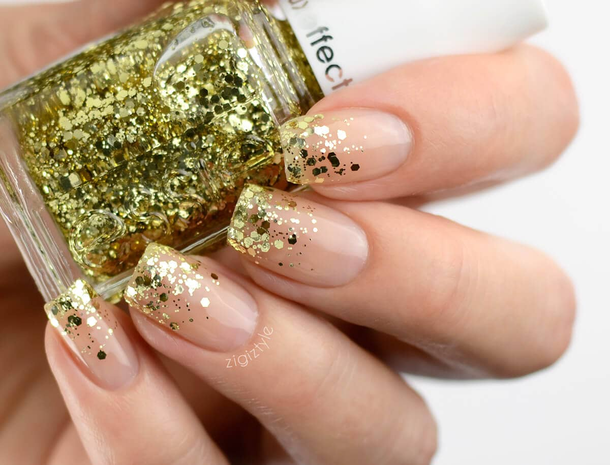 Easy Natural Nails With Gold Glitter Tips