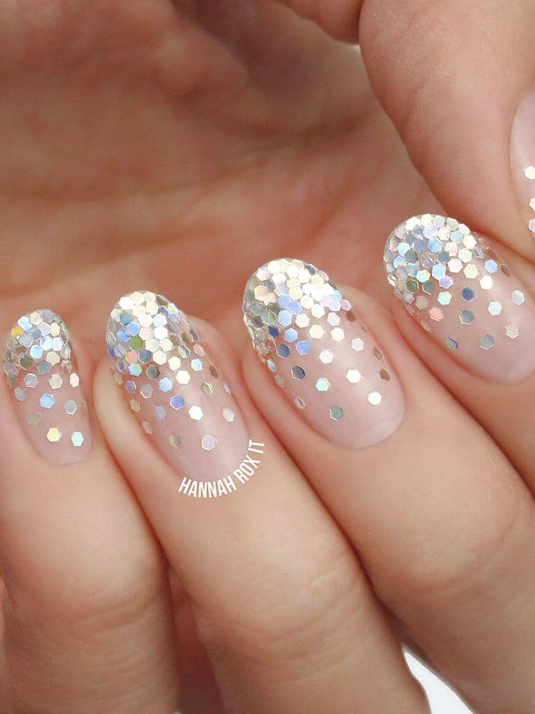 Natural Nails With Hexagonal Glitter Nail Art