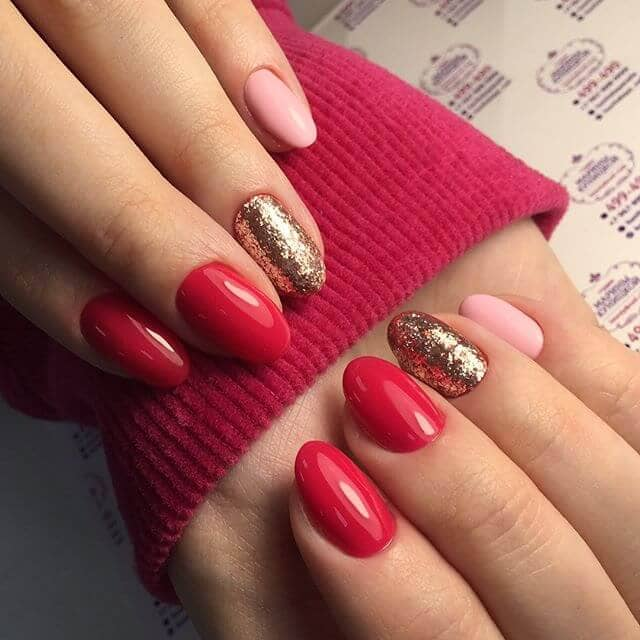 Red, Pink, and Gold Nail Designs
