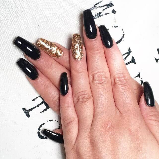 39 Gold Dust Woman Black With A Accent Long Acrylic Nails