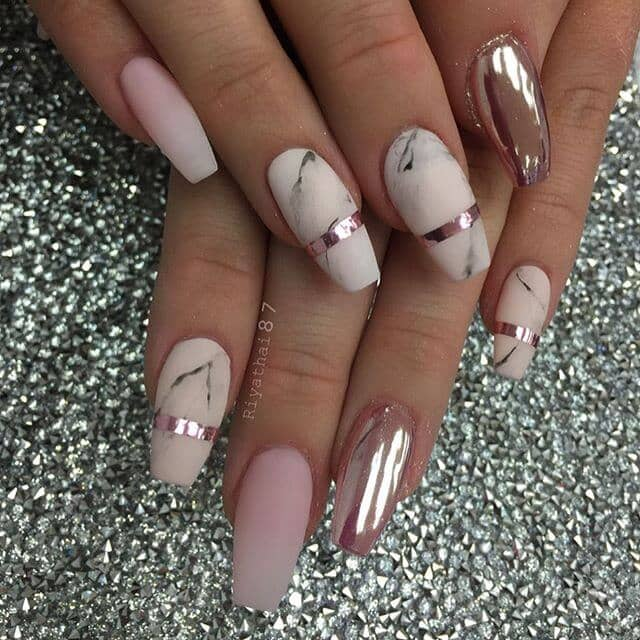 Marble Nails Accented with Pink