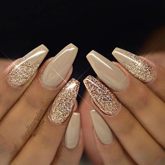 Sexy Sand Sparkle Nails With Gold Ombre