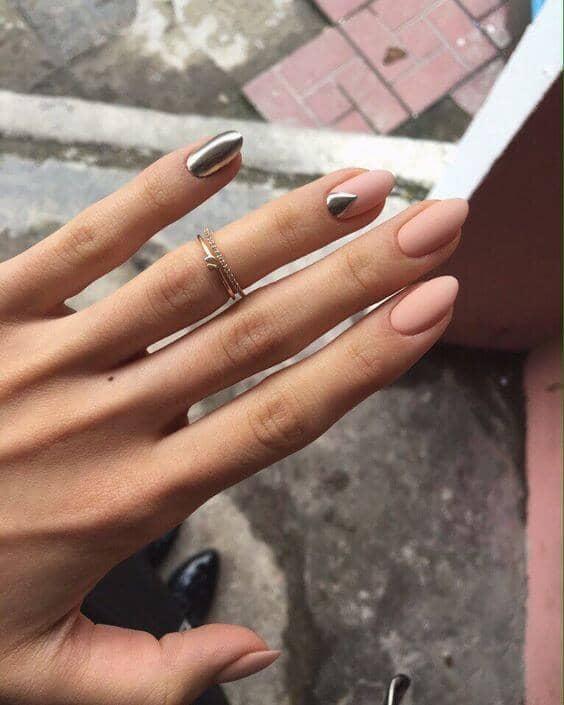 Silver and Pink Matte Nail Polish