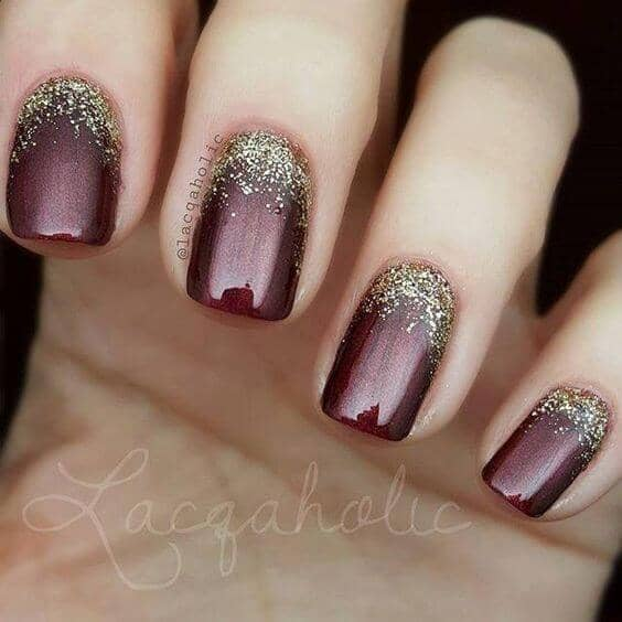 Deep Burgundy Nails With Gold Reverse Ombre