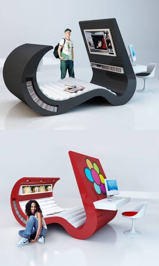 Multimedia Student Lounger With Desk and Storage