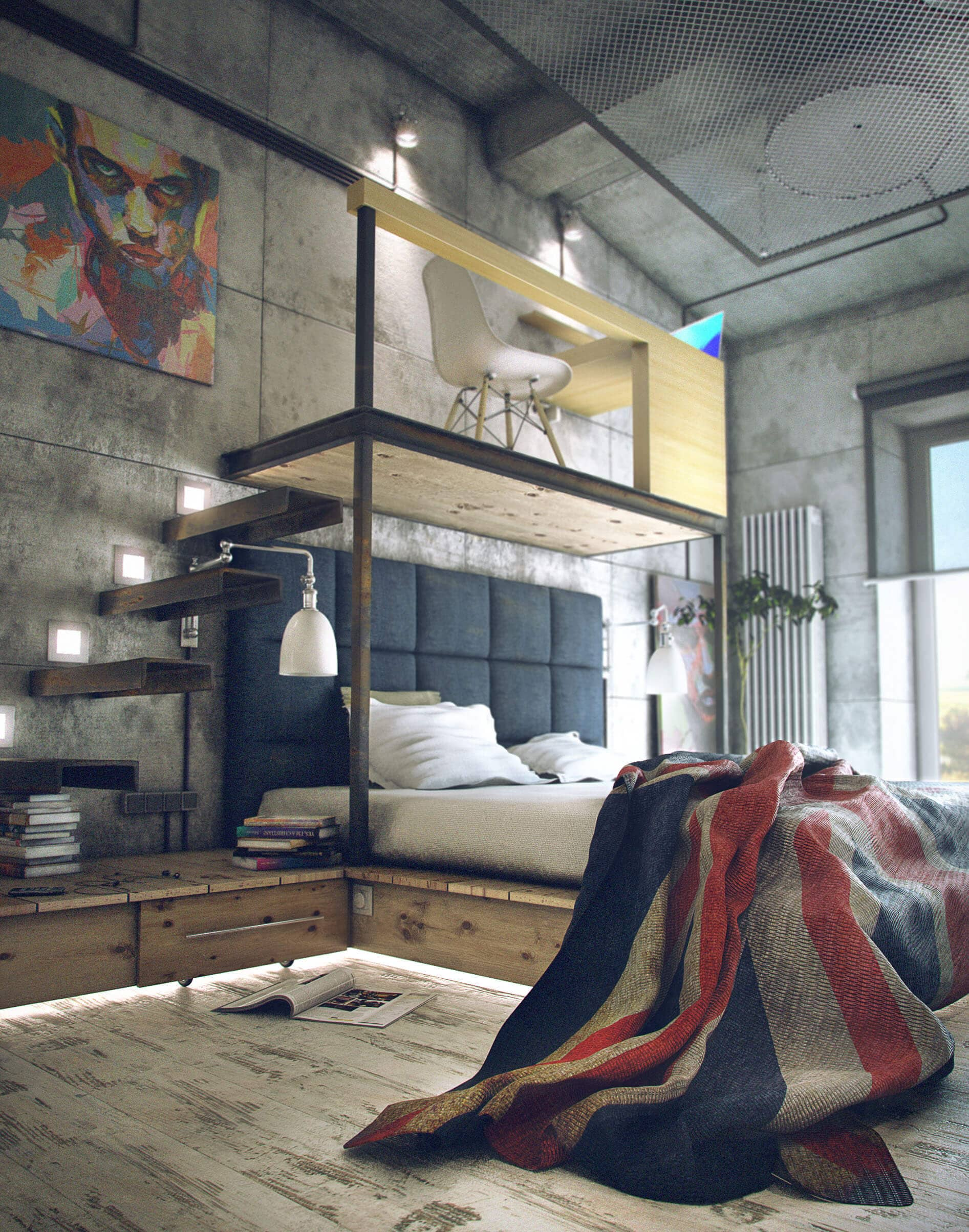 Warm Industrial Loft Bed With Quilted Headboard