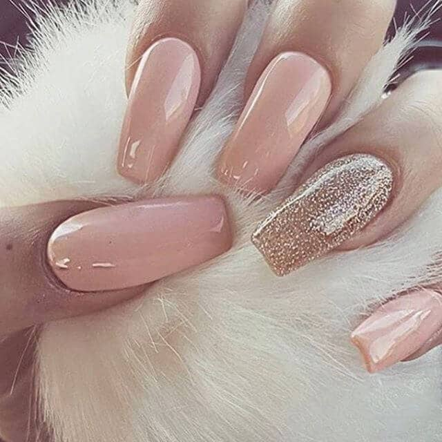 Long Nails with Rose Gold Glitter