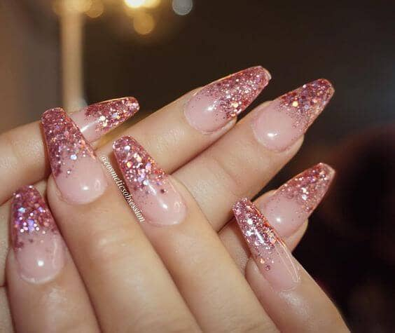 Cute Easy Nail Design With Pink Glitter