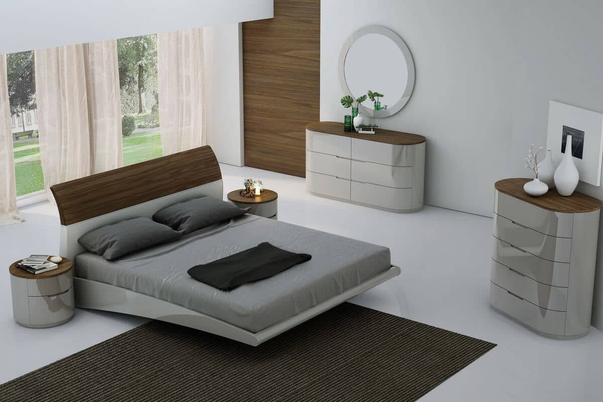 Updated Retro White and Wooden Floating Bed