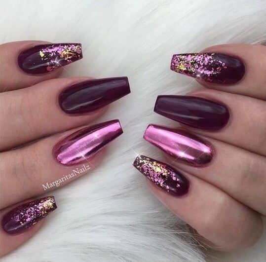 46 Dark Purple With Pink Metallic Foil