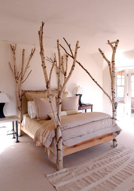 Creative Four Post Bed With Real Trees