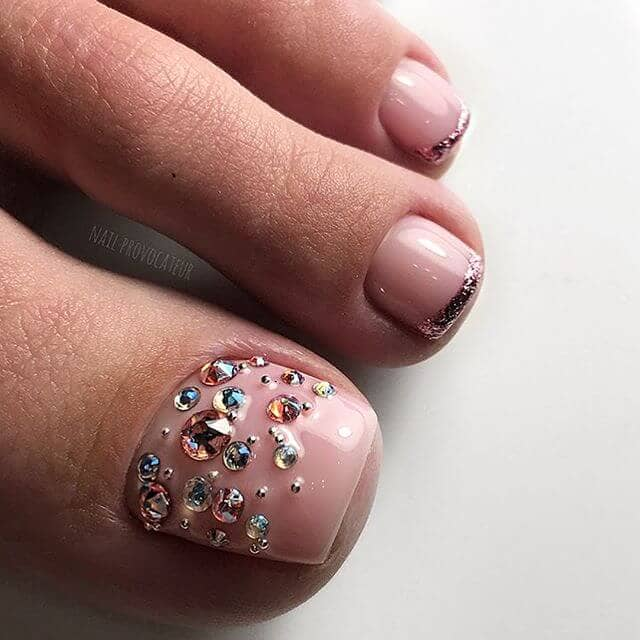Pink with Crystals and Silver Glitter