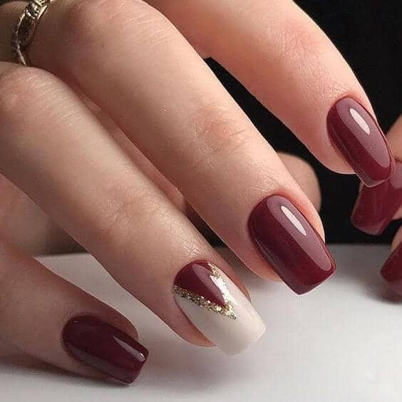 Maroon and White with Gold Glitter Chevron