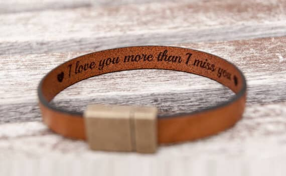 Personalized Leather Bracelet for Mens