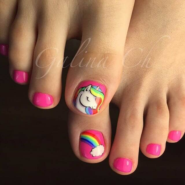 Magical Rainbow Pony Pedicure Ideas