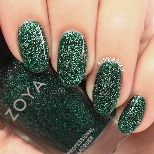 Glossy Emerald Glitter Nail Polish